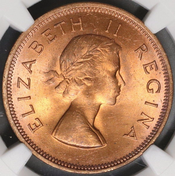 1954 NGC MS 63 RB SOUTH AFRICA Penny Elizabeth II Coin (17062403C)