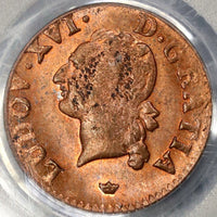 1789-M PCGS MS 63 France Liard Louis XVI Red/Brown Coin (17120101C)
