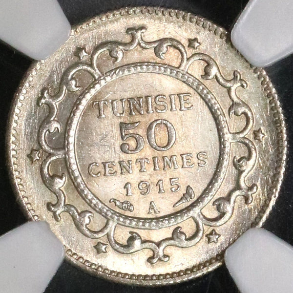 1915-A NGC MS 64 TUNISIA silver 50 Centimes France Protectorate Coin (18083008C)