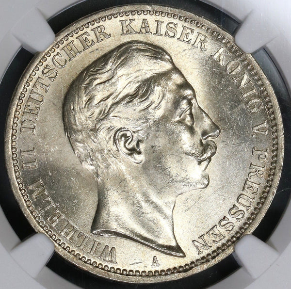1908 NCG MS 64 Prussia Silver 3 Mark German State Coin (17111204CZ)