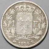 1824-K FRANCE Silver 1 Franc Louis XVIII Bordeaux Mint Coin (18041709RE)