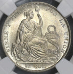 1929 NGC MS 64 PERU Silver 1/2 Sol Coin (17102204C)