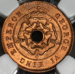 1943 NGC MS 65 RD SOUTHERN RHODESIA Red 1/2 Penny Coin (18090820C)