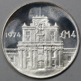 1974 MALTA  4 Pounds Cottonera Gate Coin Proof Like  BU (18041911RE)
