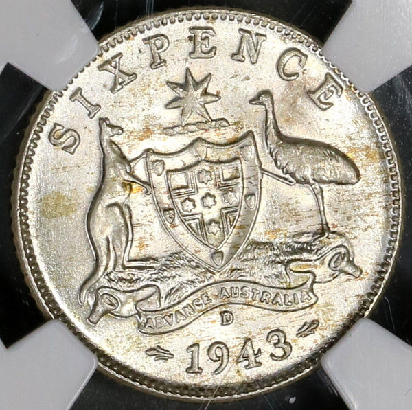 1943-D NGC MS 65 Australia Silver 6 Pence George VI Coin (18021703C)