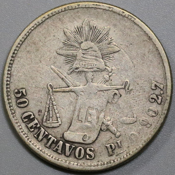 1873-Pi MEXICO Silver 50 Centavos Coin only 32k made (18041723RE)