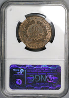 1887-A NGC MS 63 FRANCE 10 Centimes Key Date Ceres Coin POP 3/1 (17120401C)
