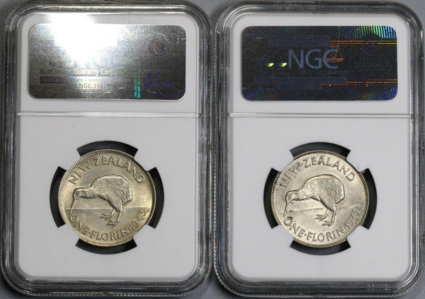 1942 1943 NGC AU 58 New Zealand Silver Florin Coins (18021901C)