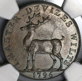 1796 NGC MS 64 Stag Conder 1/2 Penny Token Devizes D&H 2A POP 2/0 (18021504C)