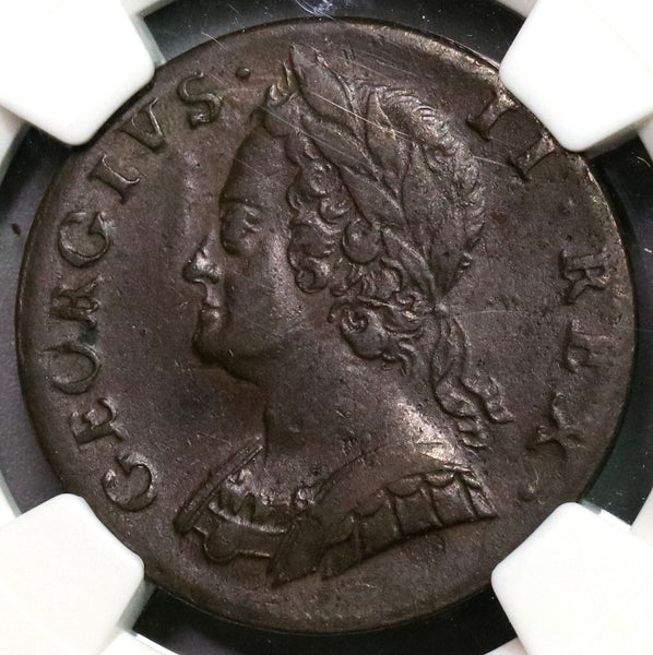 1747 NGC XF 45 George II 1/2 Penny GREAT BRITAIN Coin (18091707CZ)