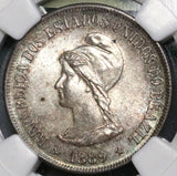 1889 NGC MS 64 BRAZIL Silver 500 Reis Southern Cross Stars Coin (17020406C)