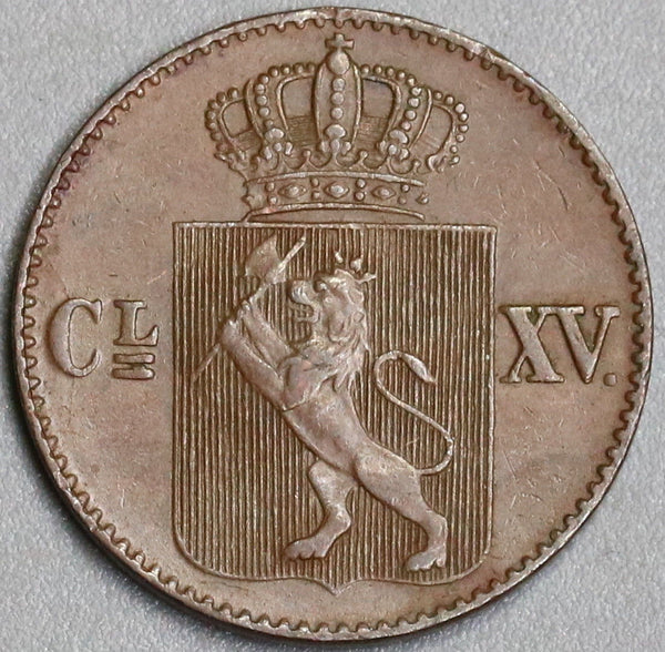 1867  Norway 1/2 Skilling Carl XV AU Copper Coin (19070917R)