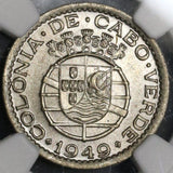 1949 NGC MS 65 CAPE VERDE 50 Centavos Portugal Colony Coin (17071002C)