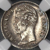 1829-B NGC AU 50 FRANCE Silver 1/4 Franc 32K Minted Coin POP 1/0 (17120704C)