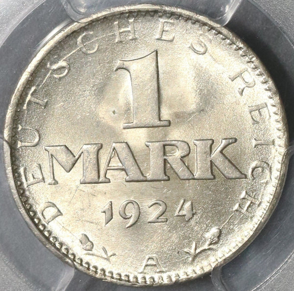1924-A PCGS MS 64 Weimar Republic Germany Silver 1 Mark Coin (18090202C)