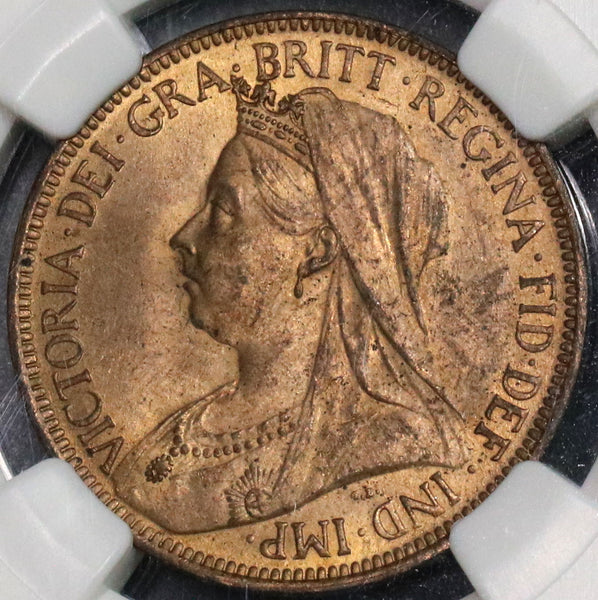 1901 NGC MS 64 RB 1/2 Penny BU Victoria GREAT BRITAIN Last Year Coin (18091901CZ)