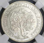 1927-G NGC MS 64 GERMANY Silver 5 Mark Oak Tree Top POP 2/0 (17101903C)