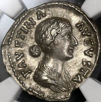 156 175 NGC AU FAUSTINA Jr Roman Empire Denarius Fecunditas & Child 5/5 5/5 (17111110CZ)