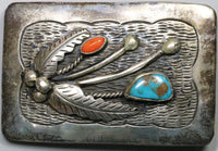 Native American Silver Belt Buckle Turquoise &  Coral Channel Inlay c. 1950s