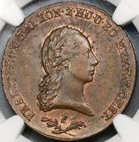 1800-F NGC AU 55 AUSTRIA 6 Kreuzer Large Copper Coin POP 1/1 (17111107CZ)