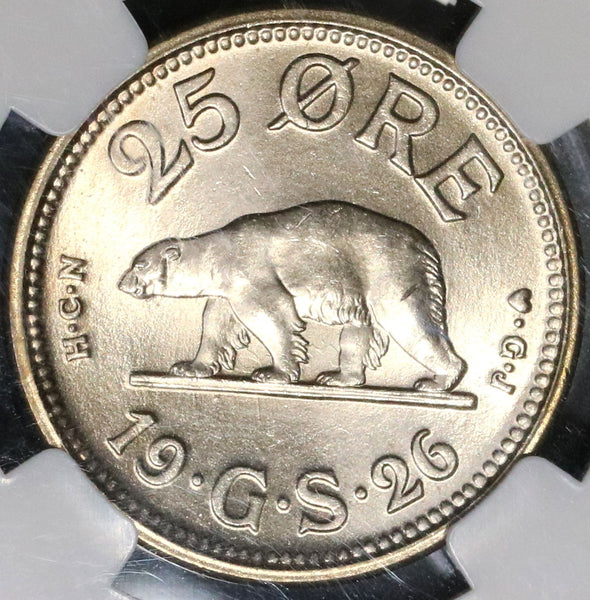 1926 NGC MS 65 POLAR BEAR Greenland Choice BU 25 ore Coin (17022501CZ)