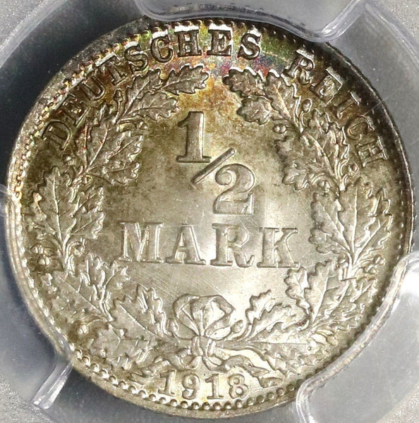 1918-D PCGS MS 67 GERMANY Silver 1/2 Mark WWI Kaiser Reich Coin (17052801D)