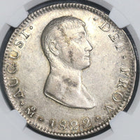 1822-Mo NGC AU 55 MEXICO Iturbide Silver 8 Reales Coin KM-304 (15111501D)