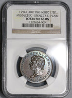 1794 NGC MS 63 Spence Heart in Hand 1/2 Penny Middlesex D&H 682C (17081202C)