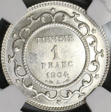 1904-A NGC MS 62 Tunisia Silver 1 Franc Key France Colony POP 1/0 (18011801D)