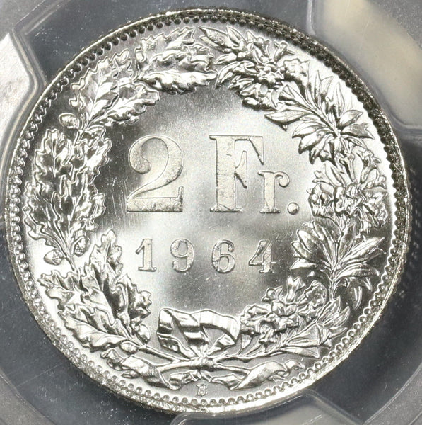 1964 PCGS MS 66 Switzerland Silver 2 Francs Swiss Coin (17111101CZ)