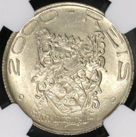 1932 NGC MS 63 BRAZIL Silver 2000 Reis Coin Discovery John III (17042204C)