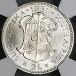 1951 NGC MS 63 South Africa Silver 2 Shillings BU Key George VI Coin (18091502C)