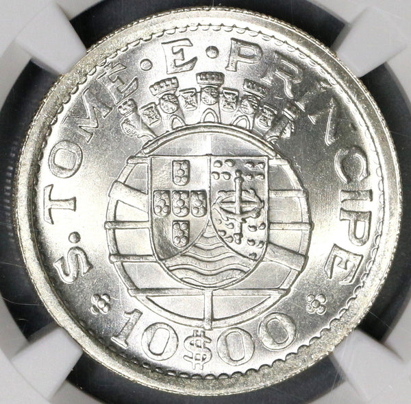 1951 NGC MS 65 St Thomas Prince Silver 10 Escudos 40K Portugal Colony  17043002C