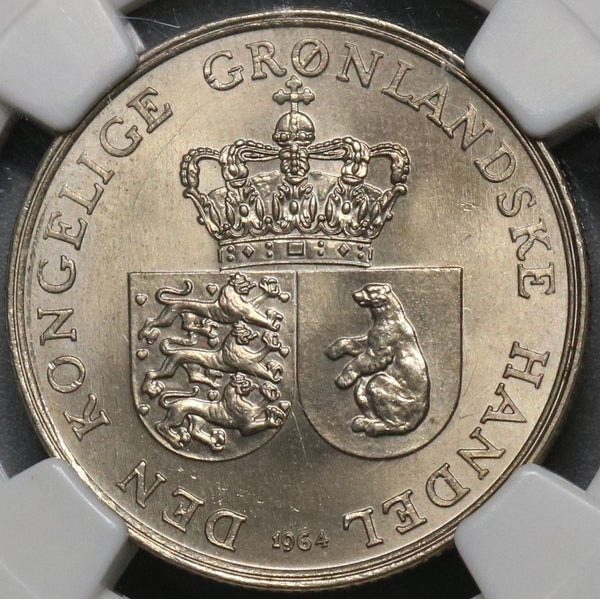 1964 NGC MS 65 GREENLAND Polar Bear Krone Royal Greenland Co Coin (17071102C)