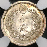 1876 NGC MS 63 JAPAN Silver 10 Sen Characters Separated Coin (18083102C)