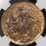 1912 NGC MS 64 RB France 10 Centimes Marianne Mint State Coin (20092502C)