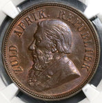 1898 NGC MS 62 South Africa Penny ZAR Kruger Coin (18091501C)