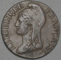 1795-A France 5 centimes Year AN 4-A XF First Year Republic Coin (20081501S)