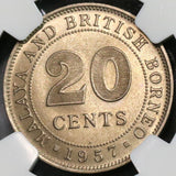 1957-H NGC MS 65 BU Malaya & British Borneo 20 cents  Britain Empire (18082902C)