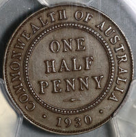 1930 PCGS AU 53 Australia 1/2 Penny Key Date Commonwealth Coin (20121601C)
