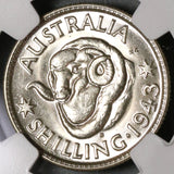 1943-S NGC MS 62 Australia Shilling Mint State San Francisco Coin (19101202C)