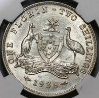 1936 NGC AU 58 Australia Florin George V Silver 2 Shillings Coin (19101001C)