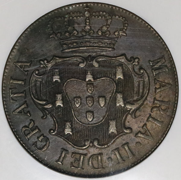 1830 NGC AU 58 Terceira Island Azores 10 Reis Portugal Colony Maria II in Exile Coin (20030401C)