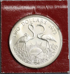 1973 Bahamas 2 dollars Flamingos Choice UNC Silver with COA Coin (19072801R)