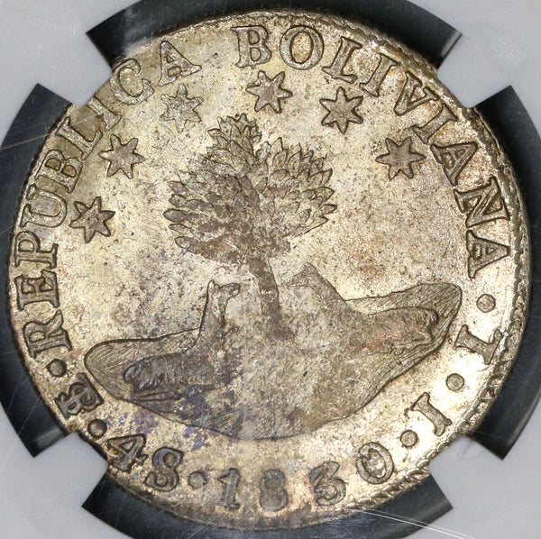 1830 NGC MS 62 Bolivia 4 Soles Flashy Bolivar Silver Coin (17071601D)