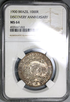 1900 NGC MS 64 Brazil 1000 Reis Discovery Commemorative Silver Coin 33K Minted (19080701C)
