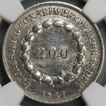 1847 NGC AU Det Brazil 200 Reis Rare Silver Coin 2936 Minted (19062303C)