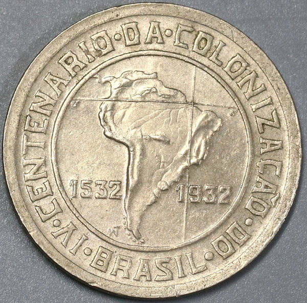 1932 Brazil 400 Reis Map 400th Anniversary of Colonization Commemorative Coin (18110401RE)
