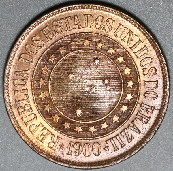 1900 Brazil 40 Reis UNC Red Brown Coin (20041604R)