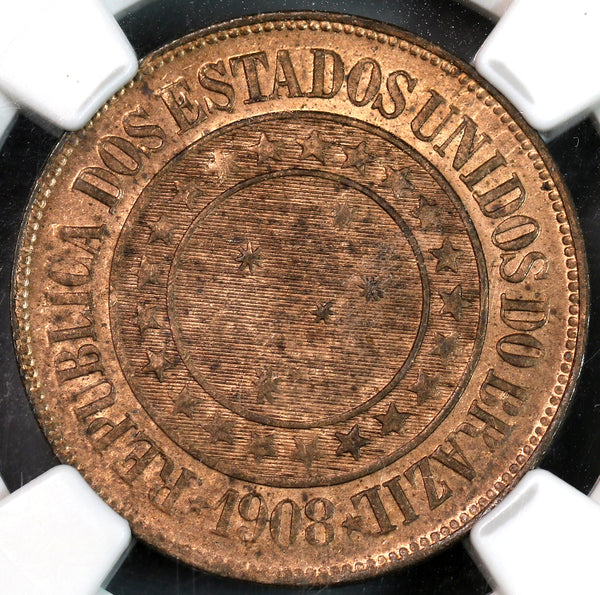 1908 NGC MS 63 Brazil 40 Reis Mint State Coin (19100802C)
